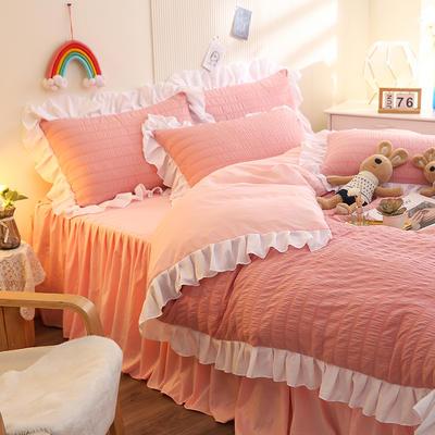 2021新款泡泡纱四件套泡泡公主系列 1.5m床单款四件套 泡泡公主-少女粉