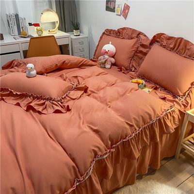 2021新款韩版蕾丝宽边淑女风床单床裙四件套 1.5m床单款四件套 初恋-活力橙