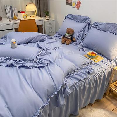 2021新款韩版蕾丝宽边淑女风床单床裙四件套 1.5m床单款四件套 初恋-罗曼紫