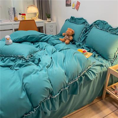 2021新款韩版蕾丝宽边淑女风床单床裙四件套 1.5m床单款四件套 初恋-清水绿