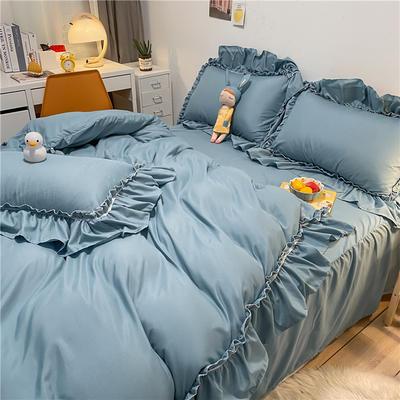 2021新款韩版蕾丝宽边淑女风床单床裙四件套 1.5m床单款四件套 初恋-微风蓝