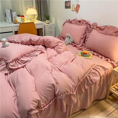 2021新款韩版蕾丝宽边淑女风床单床裙四件套 1.5m床单款四件套 初恋-仙桃粉