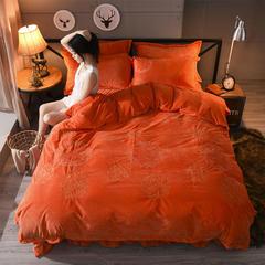 宝宝绒绣花四件套 1.5*2.05m床裙款 橘黄色
