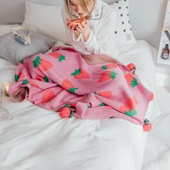 小樱桃小草莓针织毯(模特图) 1*1*1.5 小草莓