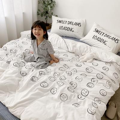 2021新款全棉色织水洗棉刺绣心情 萌萌系列四件套新拍萌图 1.5m床单款四件套 心情