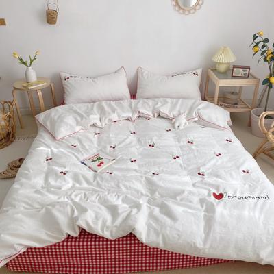 2021新款全棉色织水洗棉樱桃之吻 菠萝派对 甜心菠萝新拍图系列四件套 1.5m床单款四件套 樱桃之吻