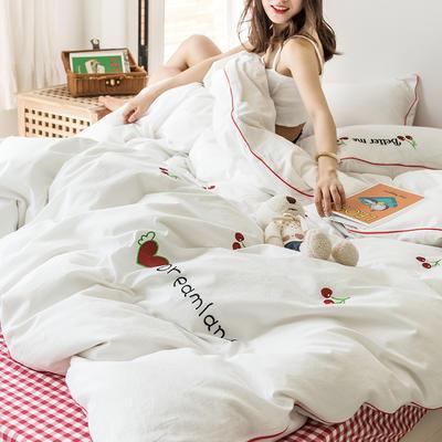 2021新款全棉色织水洗棉樱桃之吻 菠萝派对 窝窝兔新拍模特图系列四件套 1.5m床单款四件套 樱桃之吻