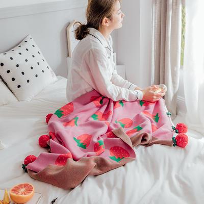2021新款全棉线针织毛毯小樱桃小草莓系列模特图 1.0*1.0*1.5m 小草莓