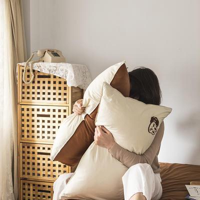 2021新款13372全棉水洗棉刺绣套件系列—单品枕套 48cmX74cm/个 巧克兔