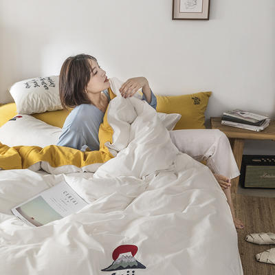 2021新款13372全棉水洗棉刺绣套件系列—四件套 1.5m床单款四件套 富士山下