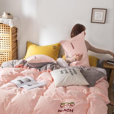 2021新款13372全棉水洗棉刺绣套件系列—四件套 1.5m床单款四件套 蜜桃之吻