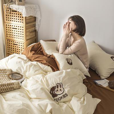 2021新款13372全棉水洗棉刺绣套件系列—四件套 1.5m床单款四件套 巧克兔