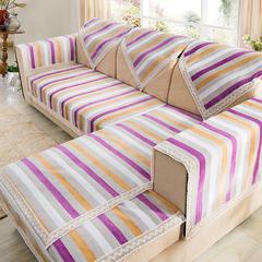 沙发坐垫新棉麻沙发垫 45*45(椅垫) 7时尚条纹-紫