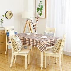 沙发垫桌布桌椅套椅垫 棉麻桌布 70*70 简约格子咖
