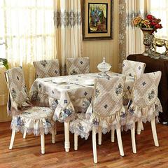 沙发垫桌布桌椅套椅垫 欧式桌布02 45*45椅垫 巴黎恋曲-蓝色
