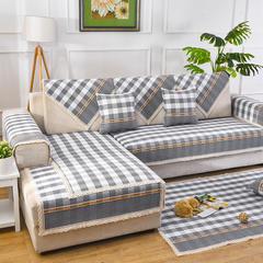 共鸣沙发垫 新款棉麻沙发垫 风格1 70*210cm 格调灰