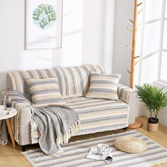 共鸣沙发垫 新款棉麻沙发垫 风格2 90*180cm 9多彩世界-蓝