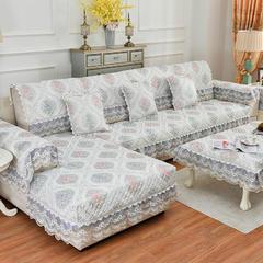 共鸣沙发垫 慕羽提花沙发垫 可定制 扶手50*90cm三面花边 慕羽灰
