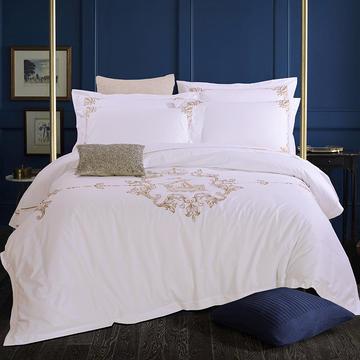 艺麦酒店家居    60喷气贡缎绣花四件套白色四件套酒店宾馆四件套