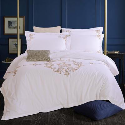 艺麦酒店家居    60喷气贡缎绣花四件套白色四件套酒店宾馆四件套 标准1.5-1.8m床 帆