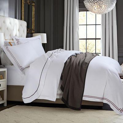 艺麦酒店家居    60喷气贡缎绣花四件套白色四件套酒店宾馆四件套 标准1.5-1.8m床 爱尔柏