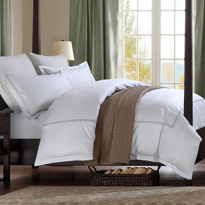 艺麦酒店家居    60喷气贡缎绣花四件套白色四件套酒店宾馆四件套 标准1.5-1.8m床 乔瑞丝