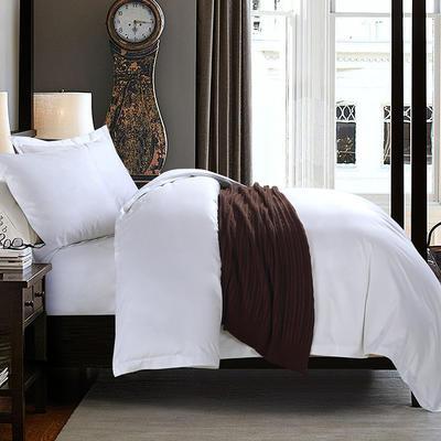 艺麦酒店家居    60喷气贡缎绣花四件套白色四件套酒店宾馆四件套 标准1.5-1.8m床 卡米尼