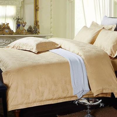 艺麦酒店家居    60牡丹紫色 土黄 粉色提花系列四件套提花四件套酒店四件套宾馆四件套 标准1.5-1.8m 牡丹土黄