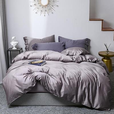 2019新款60s贡缎纯色全棉四件套 1.5m床单款 爵紫