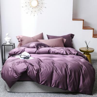 2019新款60s贡缎纯色全棉四件套 1.5m床单款 冷艳紫