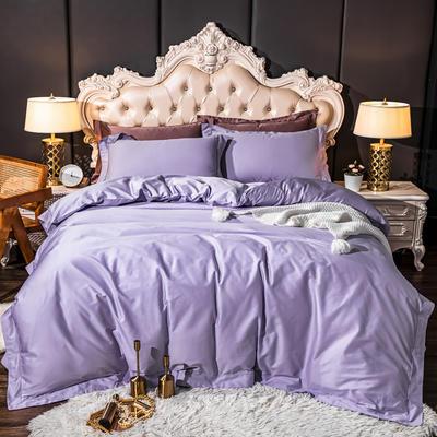 2020新款100支纯色埋绳工艺四件套 1.5m床单款四件套 丁香紫