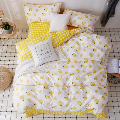 芦荟棉小清新四件套 标准(1.8m床)四件套 柠檬c