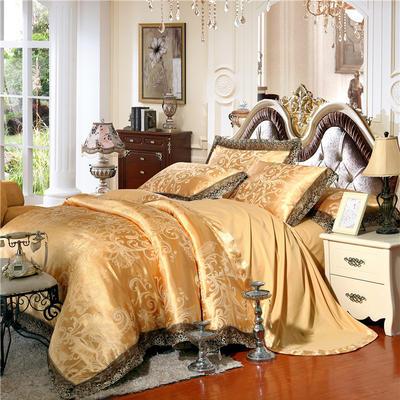 天丝莫代尔提花四件套 六件套 加大规格 光辉岁月(金色)