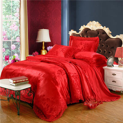 天丝莫代尔提花四件套 六件套 加大规格 花语凝香-大红