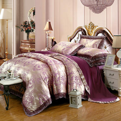 2019天丝莫代尔提花四件套 六件套 标准规格 罗曼蒂花园-银紫