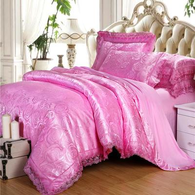 2019天丝莫代尔提花四件套 六件套 标准规格 真爱玫瑰 粉色