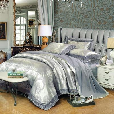2019天丝莫代尔提花四件套 六件套 标准规格 尚雅-魅力银