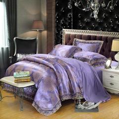2018天丝莫代尔提花四件套 六件套 标准规格 尚雅-紫色