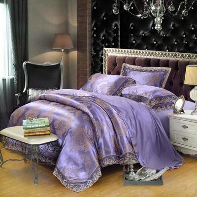 2019天丝莫代尔提花四件套 六件套 加大规格 尚雅-紫色
