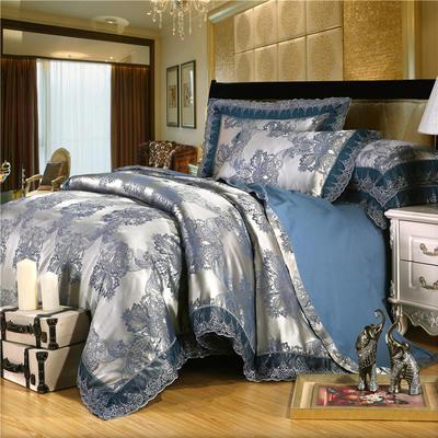 2019款全棉13372天丝莫代尔提花四件套 床单款四件套(1.5m-18m床) 北欧漫遇  银蓝