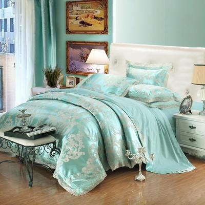 2019款全棉13372天丝莫代尔提花四件套 床单款四件套(1.5m-18m床) 贝拉-浅绿