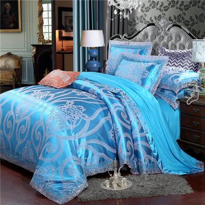 2019款全棉13372天丝莫代尔提花四件套 床单款四件套(1.5m-18m床) 贝瑞卡-湖兰