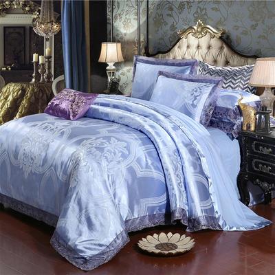 2019款全棉13372天丝莫代尔提花四件套 床单款四件套(1.5m-18m床) 迪赛德斯-淡紫罗兰