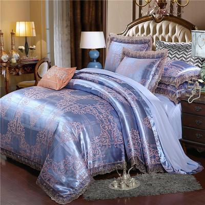 2019款全棉13372天丝莫代尔提花四件套 床单款四件套(1.5m-18m床) 格赛尔-浅蓝