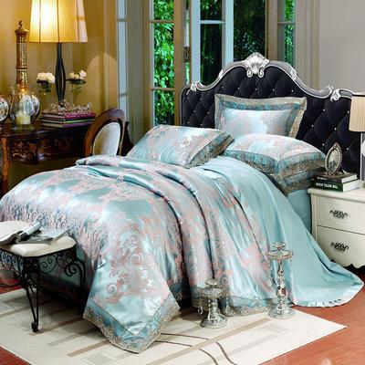 2019款全棉13372天丝莫代尔提花四件套 床单款四件套(1.5m-18m床) 花曼香缇(蓝灰)