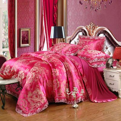 2019款全棉13372天丝莫代尔提花四件套 床单款四件套加大(2.0m-2.2m床) 花舞人间-玫金