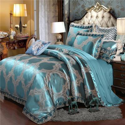 2019款全棉13372天丝莫代尔提花四件套 床单款四件套(1.5m-18m床) 金枝玉叶-墨绿色