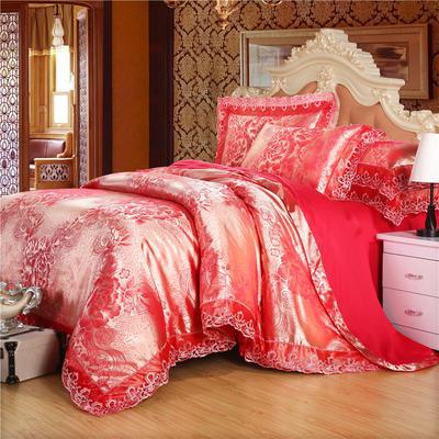 2019款全棉13372天丝莫代尔提花四件套 床单款四件套(1.5m-18m床) 梦之初爱  砖红