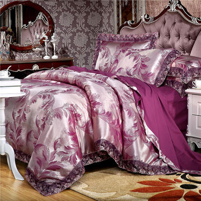 2019款全棉13372天丝莫代尔提花四件套 床单款三件套1.2m(4英尺)床 千岛丽人 魅紫