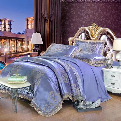 2019款全棉13372天丝莫代尔提花四件套 床单款四件套(1.5m-18m床) 赛琳娜-蓝驼